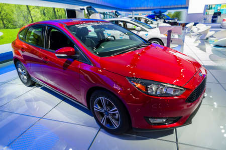 auto focus: New York, USA - March 23, 2016: Ford Focus on display during the New York International Auto Show at the Jacob Javits Center. Editorial
