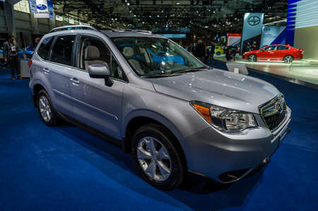 jacob: New York, USA - March 24, 2016: Subaru Forester on display during the New York International Auto Show at the Jacob Javits Center.