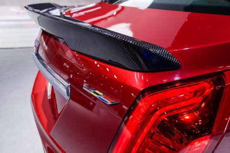 fibra de carbono: Nueva York, EE.UU. - 23 de marzo, 2016: Cadillac CTS-V en exhibición durante el Auto Show Internacional de Nueva York en el Jacob Javits Center.