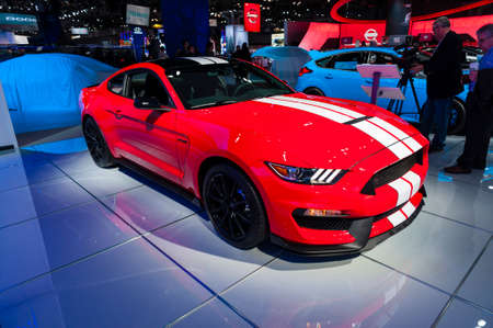 jacob: New York, USA - March 23, 2016: Ford Shelby GT350 on display during the New York International Auto Show at the Jacob Javits Center.