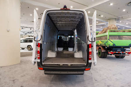 New York, USA - March 24, 2016: Freightliner 3500 cargo van 170 extended on display during the New York International Auto Show at the Jacob Javits Center. Editorial
