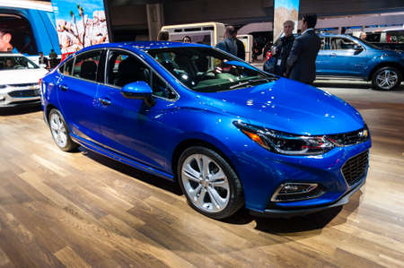 jacob: New York, USA - March 23, 2016: Chevrolet Cruze on display during the New York International Auto Show at the Jacob Javits Center.