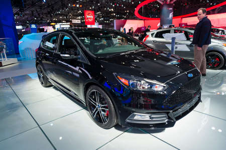 auto focus: New York, USA - March 23, 2016: Ford Focus ST on display during the New York International Auto Show at the Jacob Javits Center.