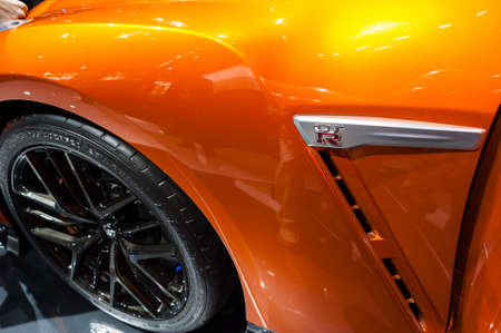 nissan: New York, USA - March 23, 2016: Nissan GT-R on display during the New York International Auto Show at the Jacob Javits Center. Editorial