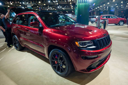 cherokee: New York, USA - March 24, 2016: Jeep Grand Cherokee SRT on display during the New York International Auto Show at the Jacob Javits Center.