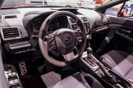 jacob: New York, USA - March 24, 2016: Subaru WRX interior on display during the New York International Auto Show at the Jacob Javits Center. Editorial