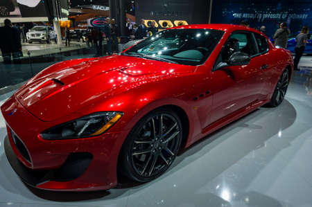 mc: New York, USA - March 24, 2016: Maserati Granturismo MC on display during the New York International Auto Show at the Jacob Javits Center. Editorial