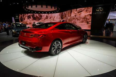 infiniti: New York, USA - March 23, 2016: Infiniti Q60 on display during the New York International Auto Show at the Jacob Javits Center.