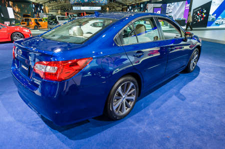jacob: New York, USA - March 24, 2016: Subaru Legacy on display during the New York International Auto Show at the Jacob Javits Center.