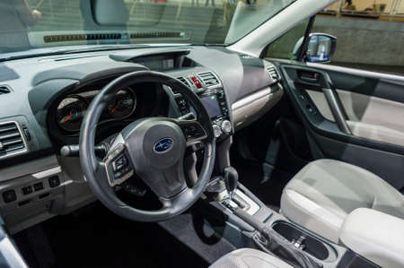 forester: New York, USA - March 24, 2016: Subaru Forester interior on display during the New York International Auto Show at the Jacob Javits Center.