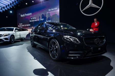 mercedes: New York, USA - March 23, 2016: Mercedes AMG E43 on display during the New York International Auto Show at the Jacob Javits Center. Editorial