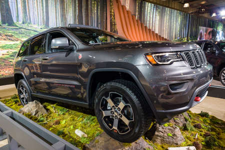cherokee: New York, USA - March 24, 2016: Jeep Grand cherokee Trailhawk on display during the New York International Auto Show at the Jacob Javits Center. Editorial