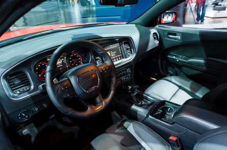 dodge: New York, USA - March 23, 2016: Dodge Charger interior on display during the New York International Auto Show at the Jacob Javits Center.