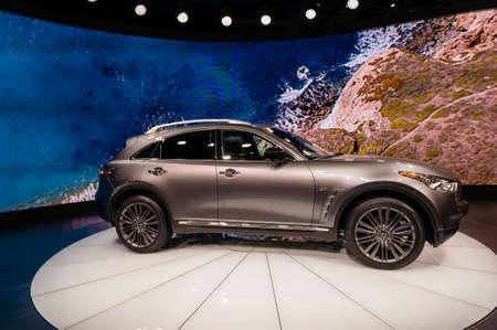 infiniti: New York, USA - March 23, 2016: Infiniti QX70 on display during the New York International Auto Show at the Jacob Javits Center.