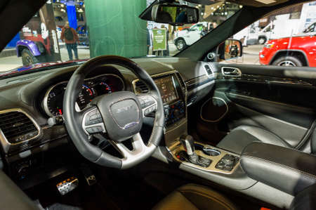 cherokee: New York, USA - March 24, 2016: Jeep Grand Cherokee SRT interior on display during the New York International Auto Show at the Jacob Javits Center.