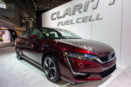 fuel cell: New York, USA - March 24, 2016: Honda Clarity fuel cell vehicle on display during the New York International Auto Show at the Jacob Javits Center.