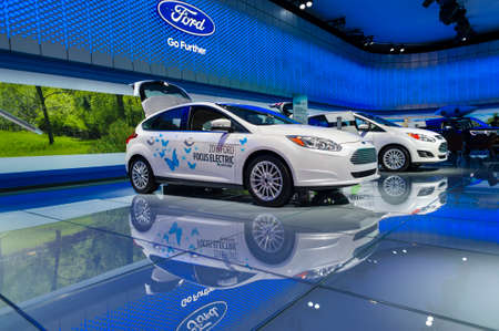 auto focus: New York, USA - March 23, 2016: Ford Focus Electric on display during the New York International Auto Show at the Jacob Javits Center.