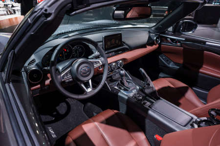 mazda: New York, USA - March 23, 2016: Mazda MX-5 RF interior on display during the New York International Auto Show at the Jacob Javits Center.