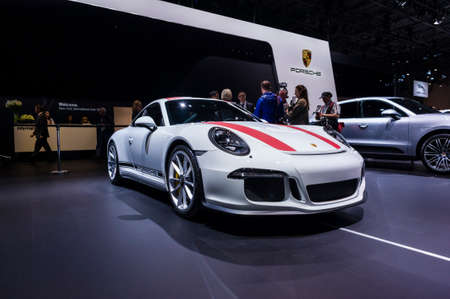 jacob: New York, USA - March 23, 2016: Porsche 911R on display during the New York International Auto Show at the Jacob Javits Center.