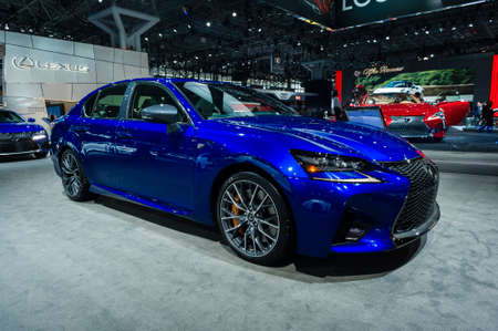 lexus auto: New York, USA - March 23, 2016: Lexus GS-F on display during the New York International Auto Show at the Jacob Javits Center.