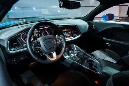 jacob: New York, USA - March 23, 2016: Dodge Challenger interior on display during the New York International Auto Show at the Jacob Javits Center. Editorial
