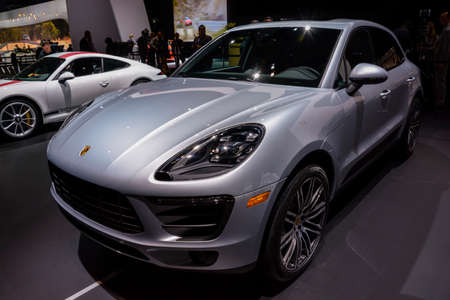 jacob: New York, USA - March 23, 2016: Porsche Macan turbo on display during the New York International Auto Show at the Jacob Javits Center.