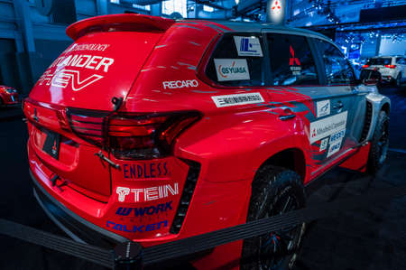 rally car: New York, USA - March 24, 2016: Mitsubishi Outlander rally car on display during the New York International Auto Show at the Jacob Javits Center. Editorial