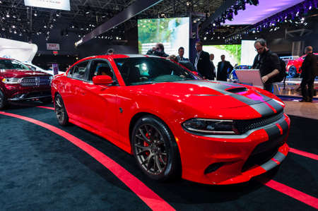 New York, USA - March 23, 2016: Dodge Charger SRT Hellcat on display during the New York International Auto Show at the Jacob Javits Center.