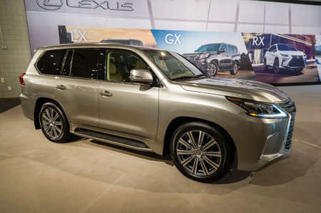 lexus auto: New York, USA - March 24, 2016: Lexus LX570 on display during the New York International Auto Show at the Jacob Javits Center. Editorial