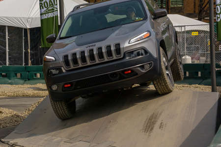 New York, USA - March 24, 2016: Jeep on the off road course during the New York International Auto Show at the Jacob Javits Center.