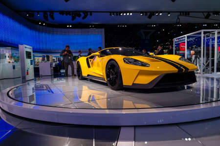 jacob: New York, USA - March 23, 2016: Ford GT on display during the New York International Auto Show at the Jacob Javits Center. Editorial
