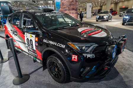 rally car: New York, USA - March 24, 2016: Toyota RAV4 SE Rally car on display during the New York International Auto Show at the Jacob Javits Center.