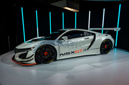 jacob: New York, USA - March 23, 2016: Acura NSX GT3 race car on display during the New York International Auto Show at the Jacob Javits Center.