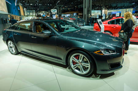 jacob: New York, USA - March 24, 2016: Jaguar XJL on display during the New York International Auto Show at the Jacob Javits Center. Editorial