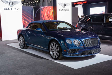 jacob: New York, USA - March 23, 2016: Bentley Continental convertible on display during the New York International Auto Show at the Jacob Javits Center.