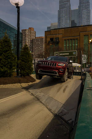 off road: New York, USA - March 24, 2016: Jeep on the off road course during the New York International Auto Show at the Jacob Javits Center.