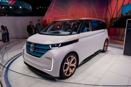 jacob: New York, USA - March 23, 2016: Volkswagen Budd-e concept vehicle on display during the New York International Auto Show at the Jacob Javits Center. Editorial