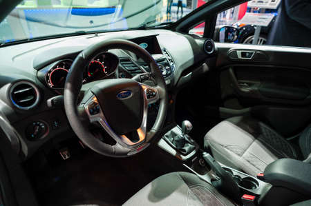 jacob: New York, USA - March 23, 2016: Ford Fiesta ST interior on display during the New York International Auto Show at the Jacob Javits Center.