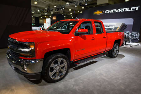 New York, USA - March 24, 2016: Chevrolet Silverado on display during the New York International Auto Show at the Jacob Javits Center. Editorial