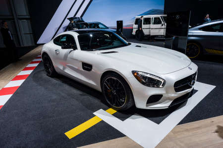 gt: New York, USA - March 23, 2016: Mercedes AMG GT S on display during the New York International Auto Show at the Jacob Javits Center.