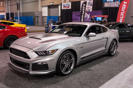 roush: CHARLOTTE, NC, USA - November 11, 2015: Roush Ford mustang RS-2 on display during the 2015 Charlotte International Auto Show at the Charlotte Convention Center in downtown Charlotte.