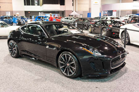 CHARLOTTE, NC, USA - November 11, 2015: Jaguar F-Type coupe on display during the 2015 Charlotte International Auto Show at the Charlotte Convention Center in downtown Charlotte. Редакционное