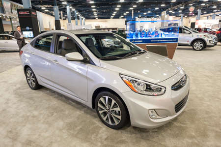 accent: Miami Beach, FL, USA - November 6, 2015: Hyundai Accent on display during the 2015 Miami International Auto Show at the Miami Beach Convention Center in downtown Miami Beach.