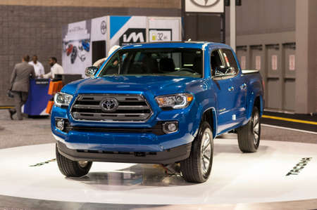 tacoma: CHARLOTTE, NC, USA - November 11, 2015: Toyota Tacoma on display during the 2015 Charlotte International Auto Show at the Charlotte Convention Center in downtown Charlotte. Editorial