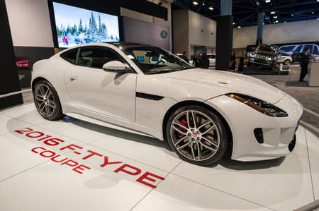 coupe: Miami Beach, FL, USA - November 6, 2015: Jaguar F-Type coupe on display during the 2015 Miami International Auto Show at the Miami Beach Convention Center in downtown Miami Beach.
