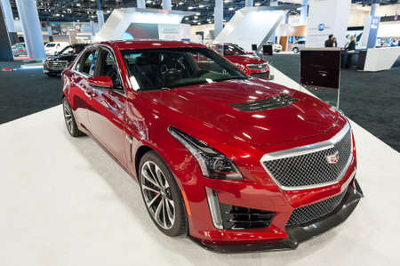 Miami Beach, FL, USA - November 6, 2015:  Cadillac CTS-V on display during the 2015 Miami International Auto Show at the Miami Beach Convention Center in downtown Miami Beach.