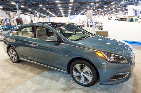 sonata: Miami Beach, FL, USA - November 6, 2015: Hyundai Sonata hybrid on display during the 2015 Miami International Auto Show at the Miami Beach Convention Center in downtown Miami Beach.