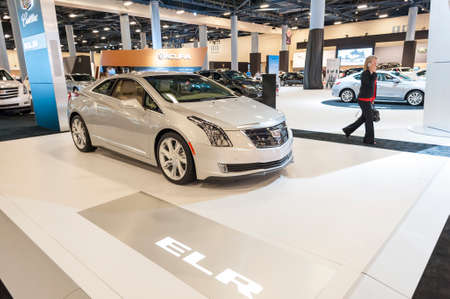 Miami Beach, FL, USA - November 6, 2015: Cadillac ELR on display during the 2015 Miami International Auto Show at the Miami Beach Convention Center in downtown Miami Beach.
