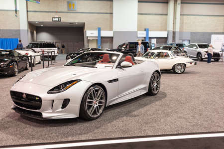 CHARLOTTE, NC, USA - November 11, 2015: Jaguar F-Type convertible on display during the 2015 Charlotte International Auto Show at the Charlotte Convention Center in downtown Charlotte.