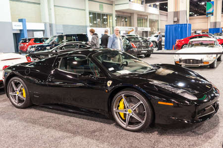 ferrari: CHARLOTTE, NC, USA - November 11, 2015: Ferrari 458 on display during the 2015 Charlotte International Auto Show at the Charlotte Convention Center in downtown Charlotte. Editorial